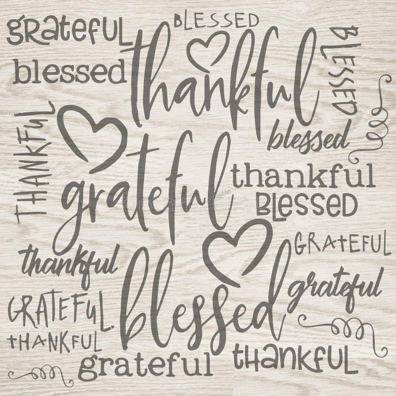 Word Dankbaar Art Background Paper - van de boerderijstijl - Dankbare - Heilig - Uitstekende Boerderij royalty-vrije illustratie