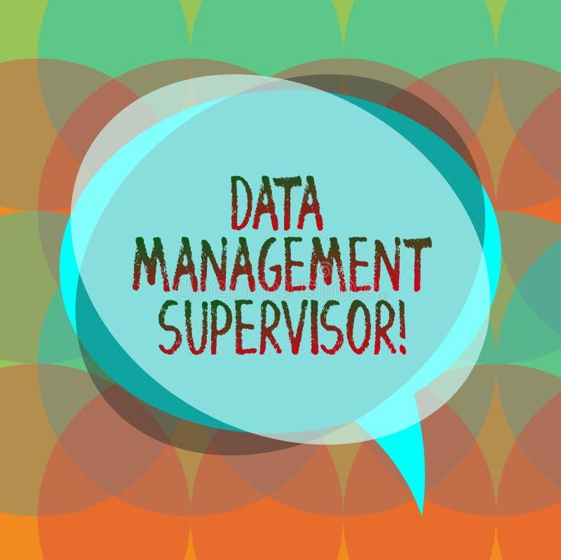 Word de schrijvende Supervisor van het tekstGegevensbeheer Bedrijfsconcept voor het verzekeren van de efficiënte en doeltreffende stock illustratie