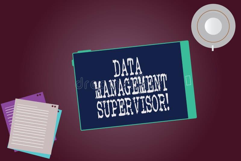 Word de schrijvende Supervisor van het tekstGegevensbeheer Bedrijfsconcept voor het verzekeren van de efficiënte en Lege doeltref stock illustratie