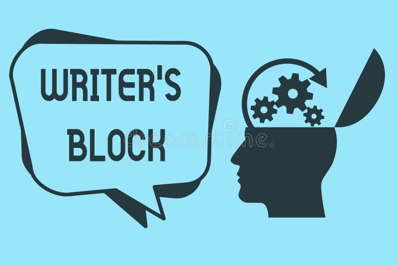 Word is de schrijvende tekstschrijver s Blok Bedrijfsconcept voor Voorwaarde om niet te kunnen aan wat denken om te schrijven stock illustratie