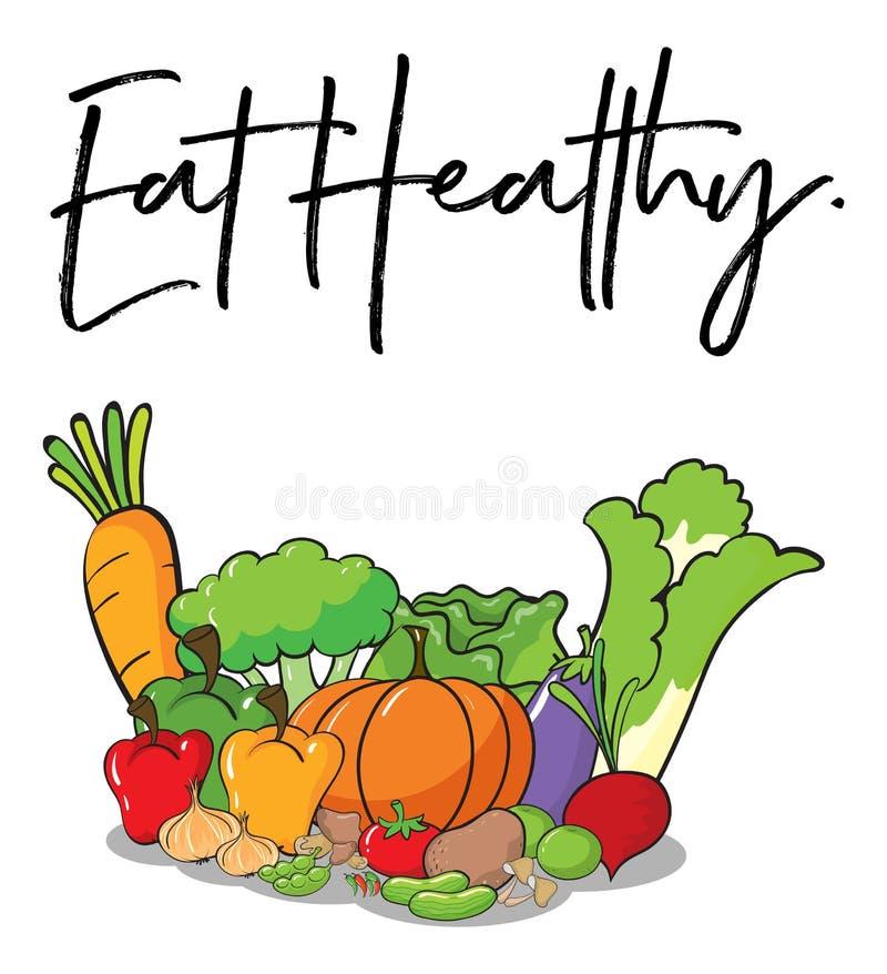 Word de uitdrukking voor eet gezond met verse groenten in backgro vector illustratie
