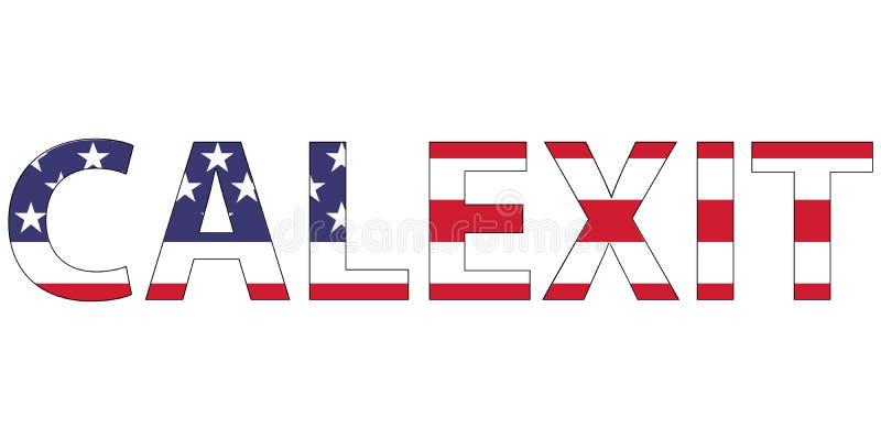 Word de vlag de V.S. de V.S. aan de staat van Californië, de vorming van Calexit van de nieuwe staat, het concept ontevredenheid  royalty-vrije illustratie