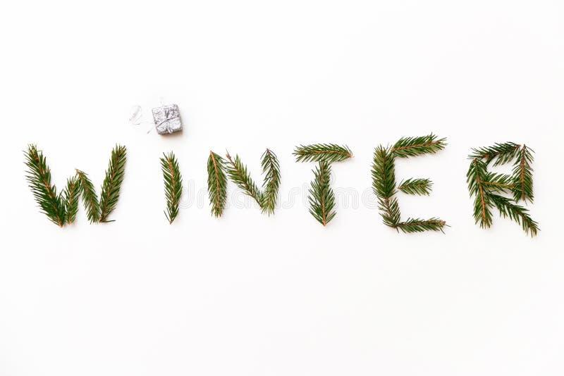 Word de winter door spar wordt vertakt zich en weinig die giftdoos op witte achtergrond wordt geïsoleerd opgemaakt die royalty-vrije stock afbeelding