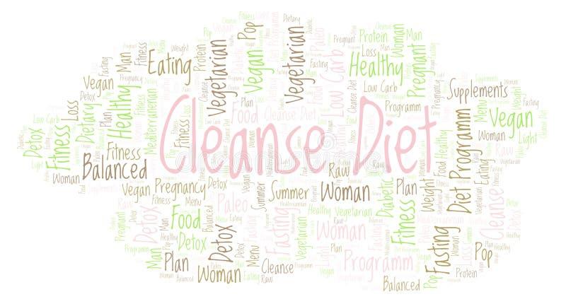 Word de wolk met tekst reinigt Dieet op een witte achtergrond vector illustratie