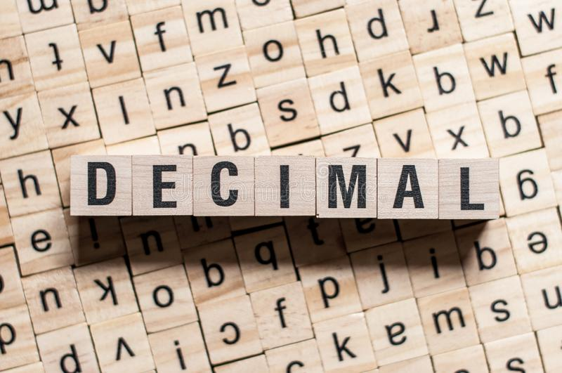 The word of DECIMAL on building blocks concept.  stock photo