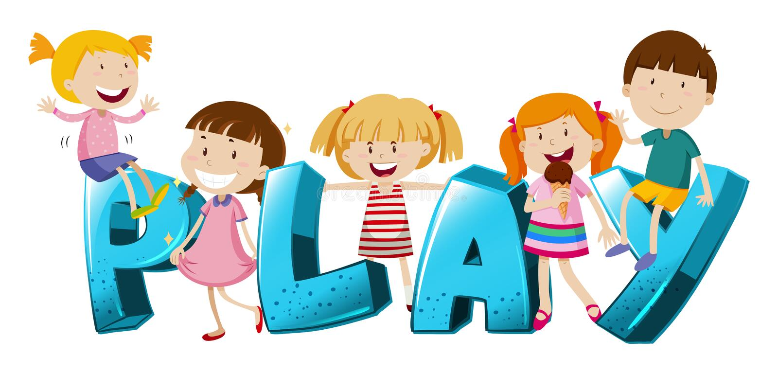 Word design with kids and word play stock illustration