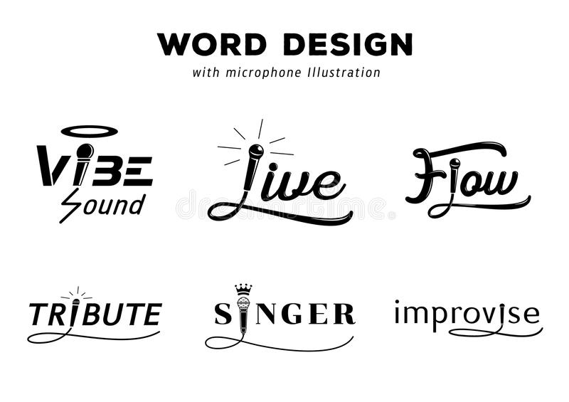 Word design with microphone illustration. Word design with microphone vector illustration set with vibe,live,flow,tribute,singer and improvise with microphone stock illustration