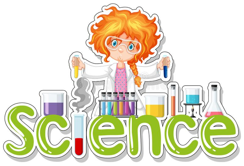 Word design for science with girl doing experiment vector illustration
