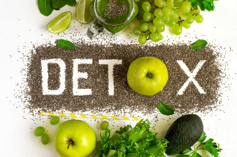 Word detox is made from chia seeds. Green smoothies and ingredie. Nts. Concept of diet, cleansing the body, healthy eating stock photos
