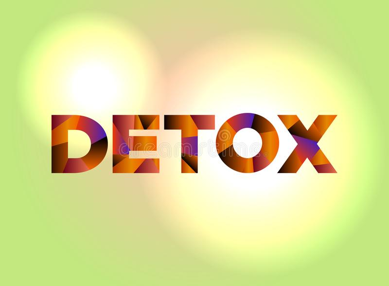 Detox Concept Colorful Word Art Illustration. The word DETOX written in colorful abstract word art on a vibrant background. Vector EPS 10 available stock illustration