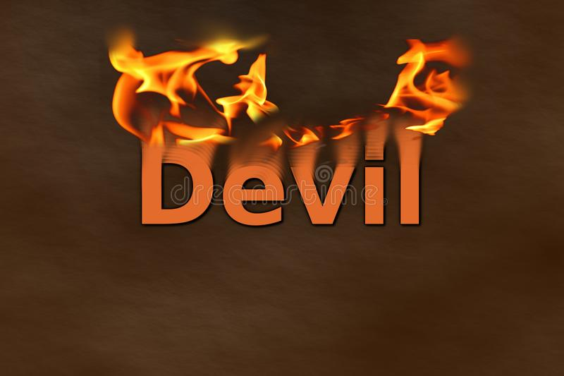"Devil in Fire. This is a digital art illustration. The word ""Devil"" is written in orange letters. From the word ""Devil"" are burning flames vector illustration"