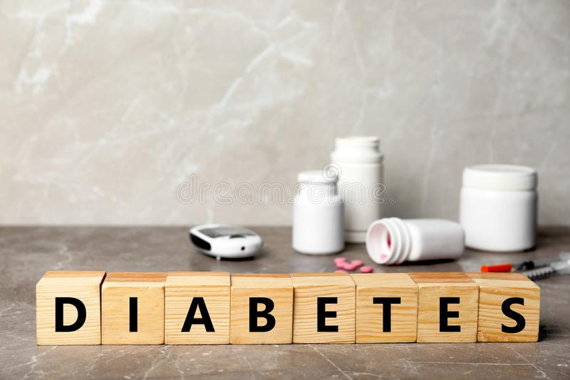 Word DIABETES made of cubes stock photography