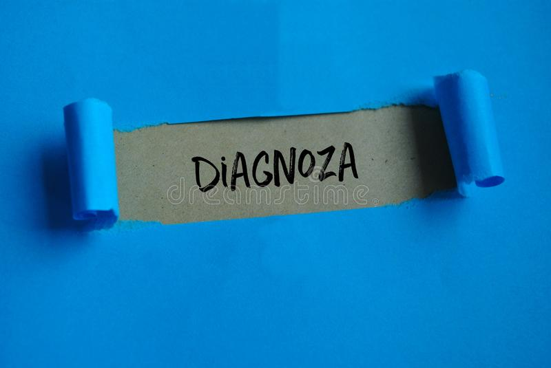 Word `Diagnosis` on paper royalty free stock images