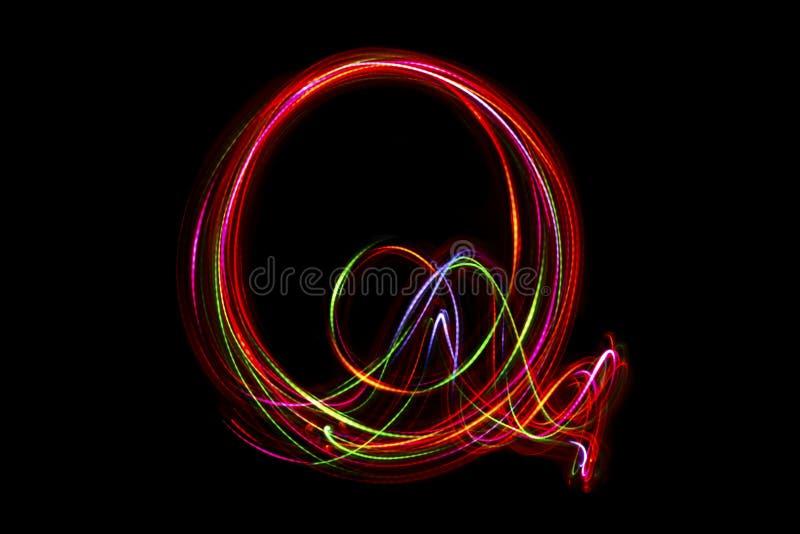 Word ` die Q ` van licht schrijven vector illustratie