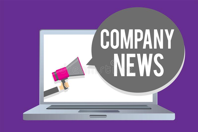Word die text Company Nieuws schrijven Bedrijfsconcept voor Recentste Informatie en het gebeuren over een holding m van de bedrij vector illustratie