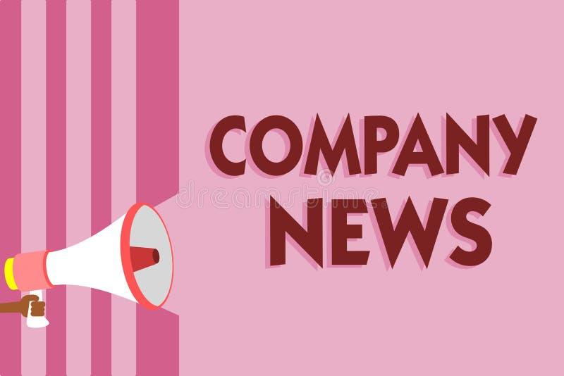 Word die text Company Nieuws schrijven Bedrijfsconcept voor Recentste Informatie en het gebeuren over een lou van de bedrijfs Col royalty-vrije illustratie