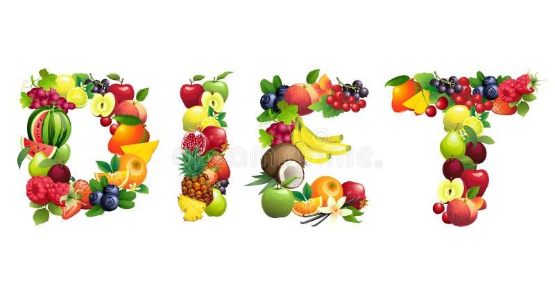 Word DIEET uit verschillende vruchten met bladeren wordt samengesteld dat royalty-vrije illustratie