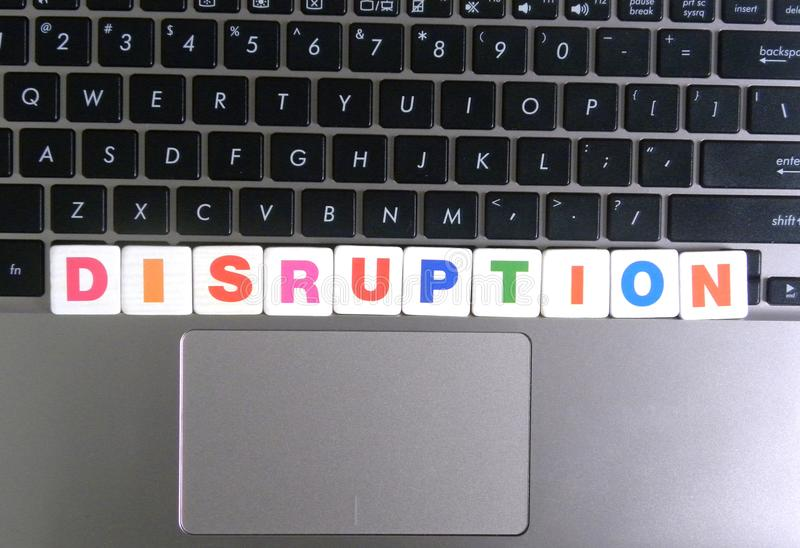 Word Disruption on keyboard background royalty free stock photos