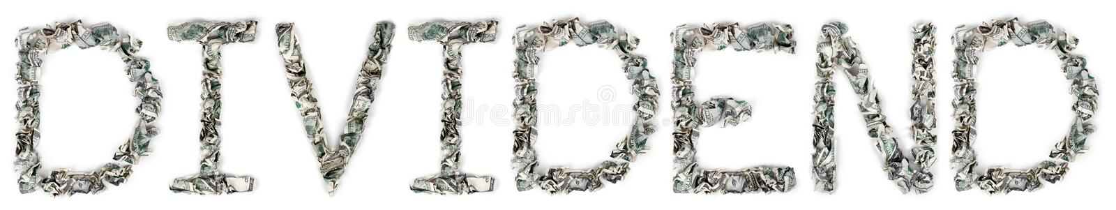 Dividend - Crimped 100$ Bills. The word 'dividend', made out of crimped 100$ bills. Isolated on white background royalty free stock photo