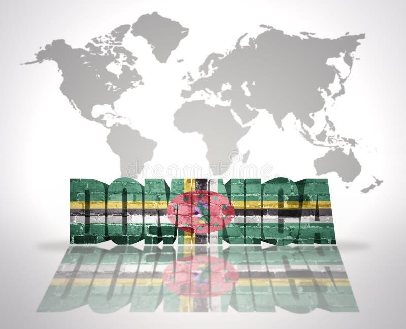 Word Dominique sur un fond de carte du monde illustration stock