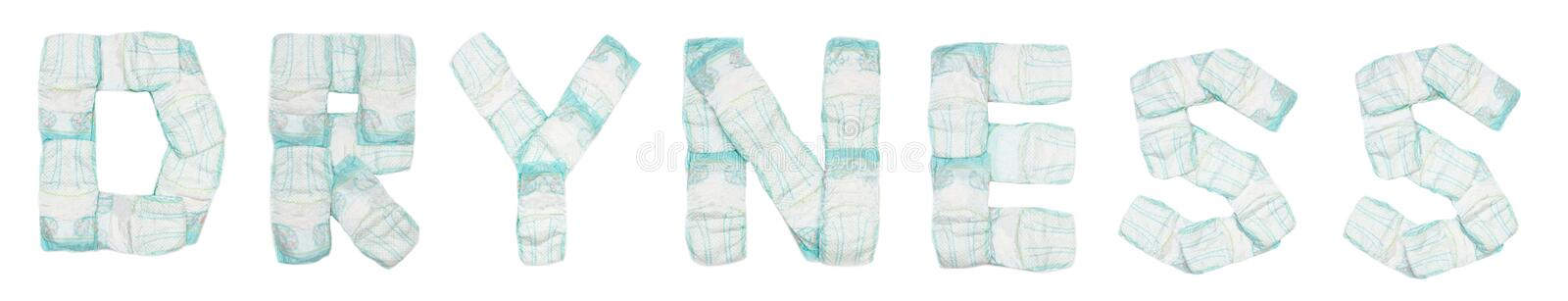 Word dryness laid out baby diapers on a white background, isolate, napkin, inscription. Napkin stock photos