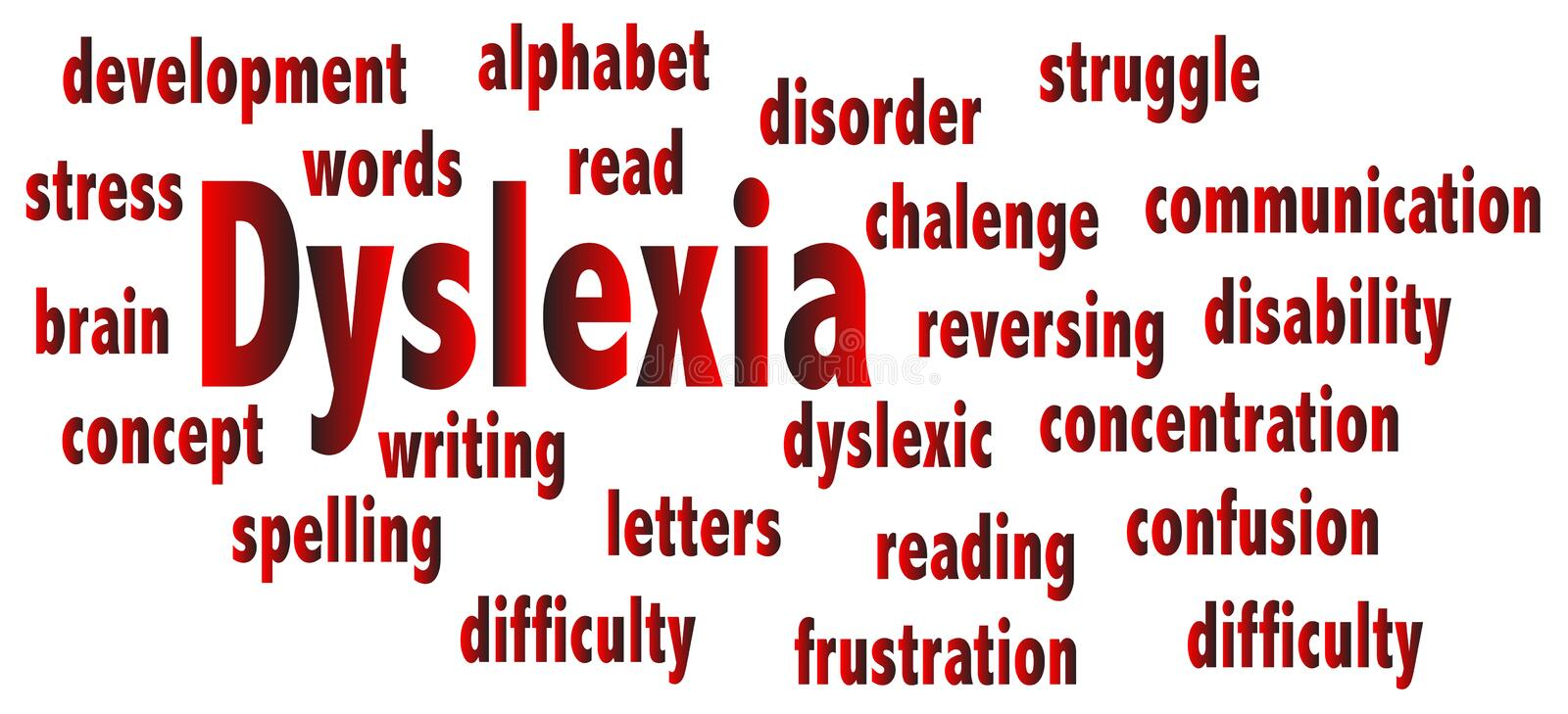 Dyslexia and related words on white. The word DYSLEXIA with several related words on a white background vector illustration