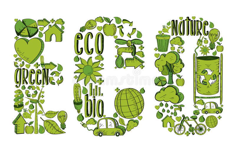Download Word Eco With Environmental Icons Royalty Free Stock Image - Image: 32018956