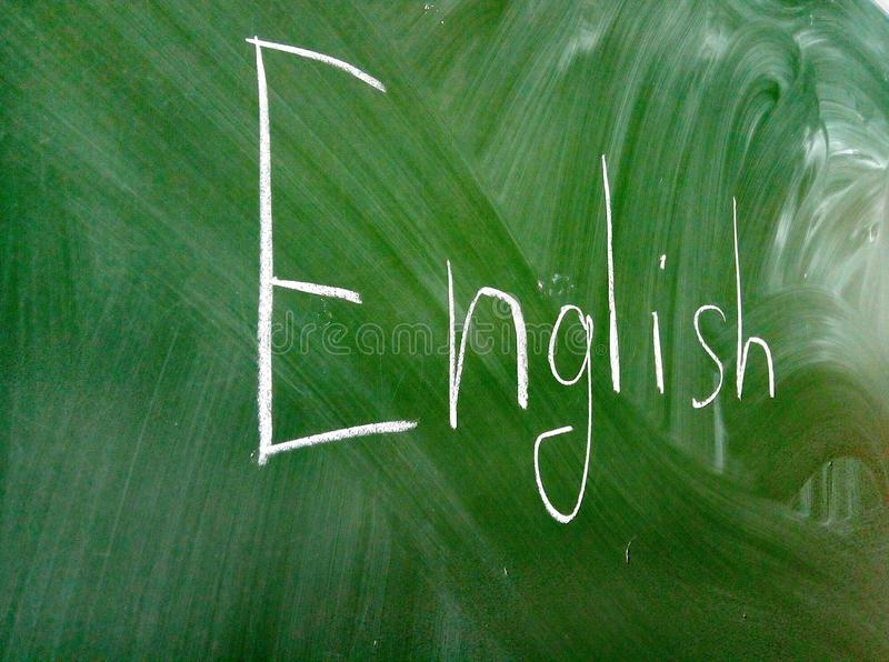 English word written on the blackboard stock image
