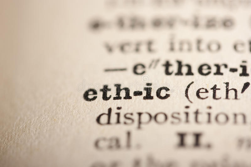 Word ethic. From the old dictionary, a close up stock images