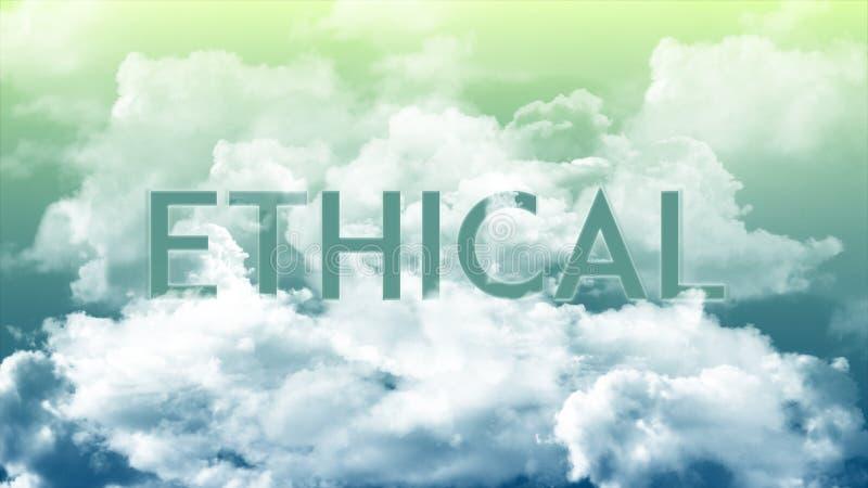 Word ETHISCH in de wolken, de groene & blauwe hemelkleuren royalty-vrije illustratie