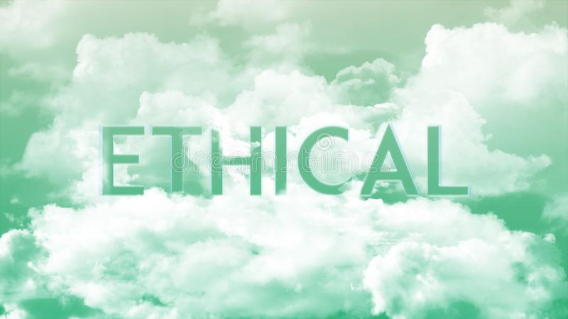 Word ETHISCH in de wolken, groene hemelkleuren royalty-vrije illustratie