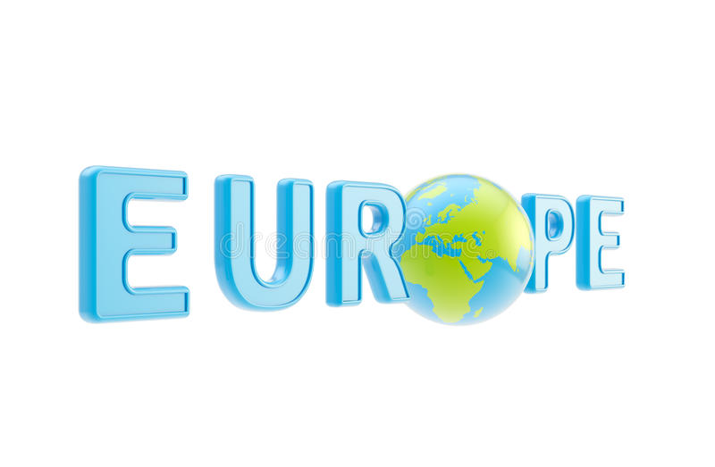 Word Europe Symbol With Earth Globe Stock Photo