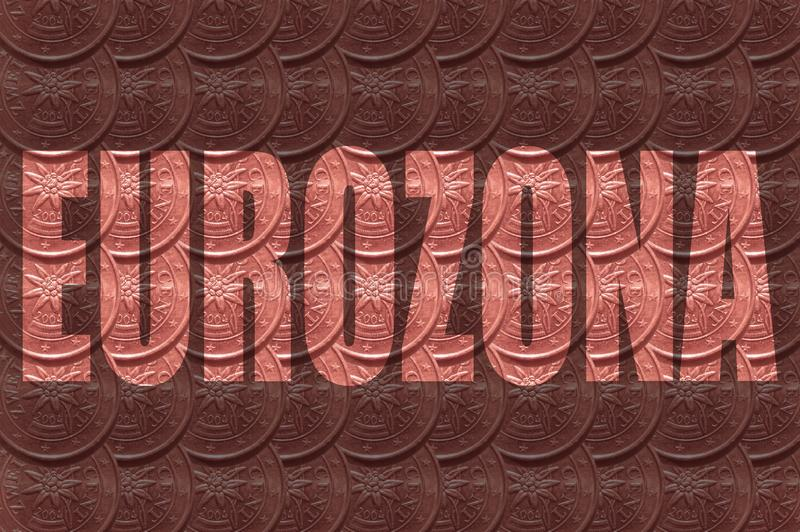 The word `Eurozona` on background, inside the letters of a coin, 2 euro cent. vector illustration