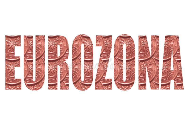 Word `Eurozona` on white background, inside the letters of a coin, 2 euro cent. vector illustration