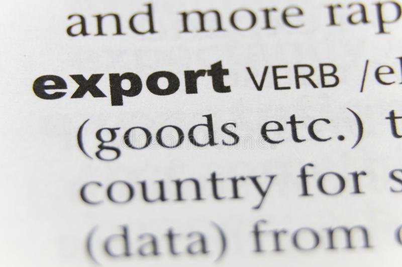 The Word Export Close Up.  royalty free stock images