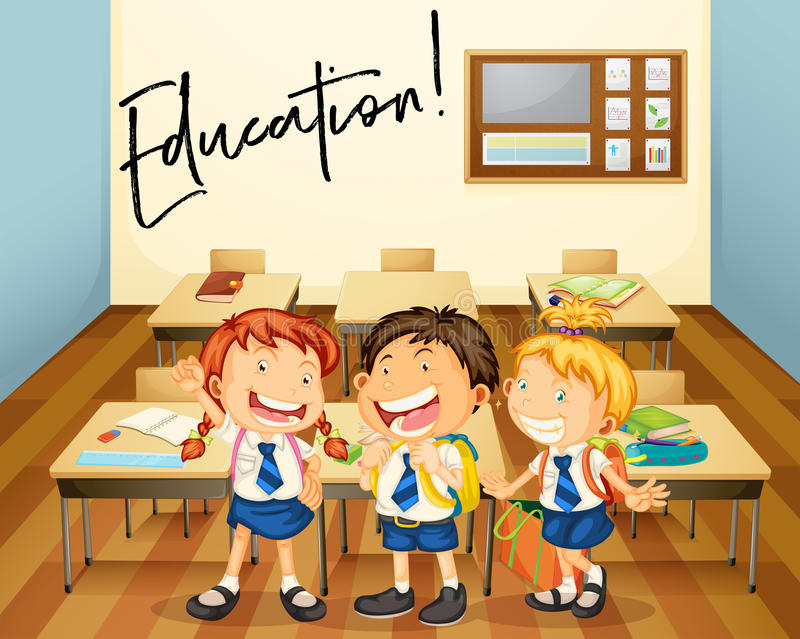 Word expression for education with students in classroom stock illustration