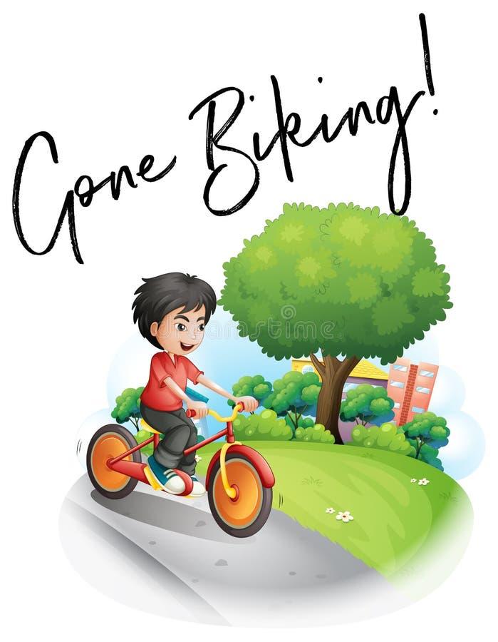 Word expression for gone biking with boy on bike stock illustration