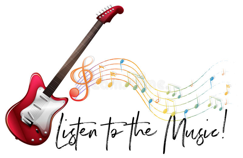 Word expression for listen to the music with music notes in back stock illustration