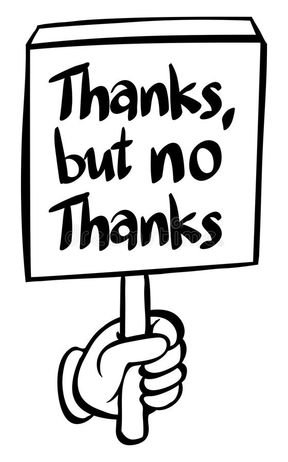 Word expression for thanks but no thanks royalty free illustration