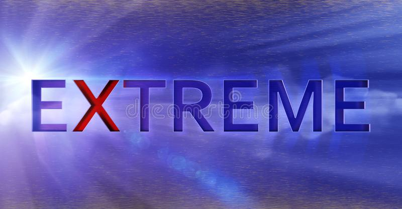 Word extreme engraved in metal, abstract design, special effects, stars and space royalty free stock images