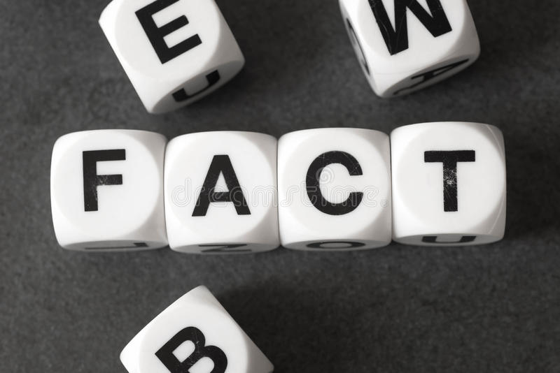 Word fact on toy cubes. Word fact on white toy cubes royalty free stock photography