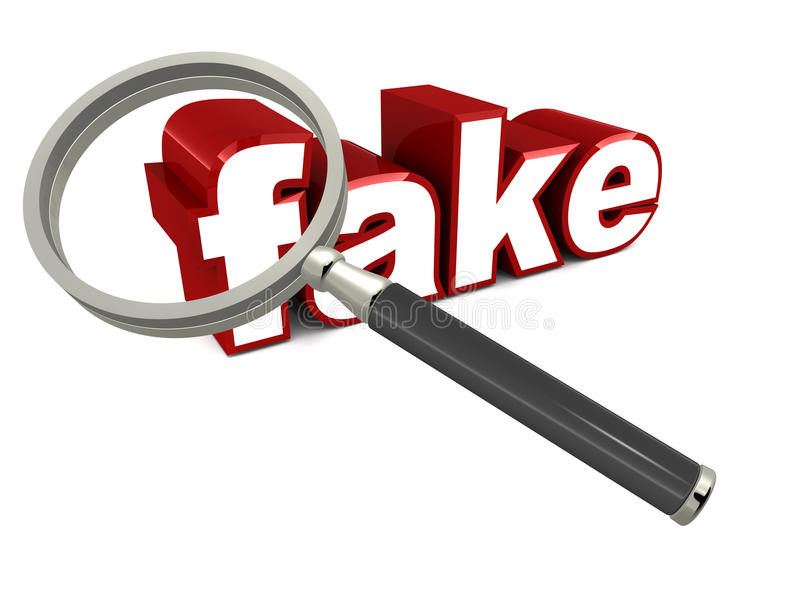 Fake. Word fake under a magnifying lens on white background, red colored font, concept of counterfeit fake or duplicate copy work in products royalty free illustration