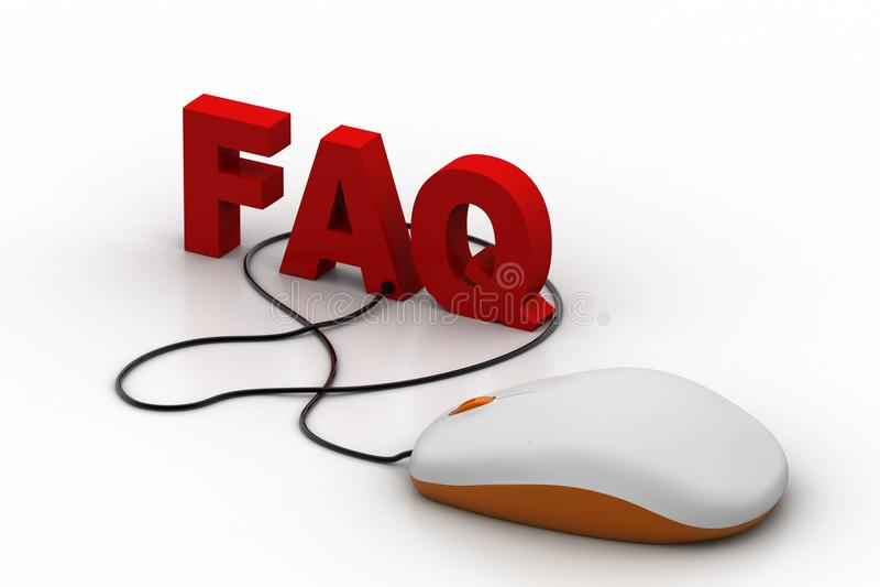 Word faq aan computermuis die wordt verbonden stock illustratie
