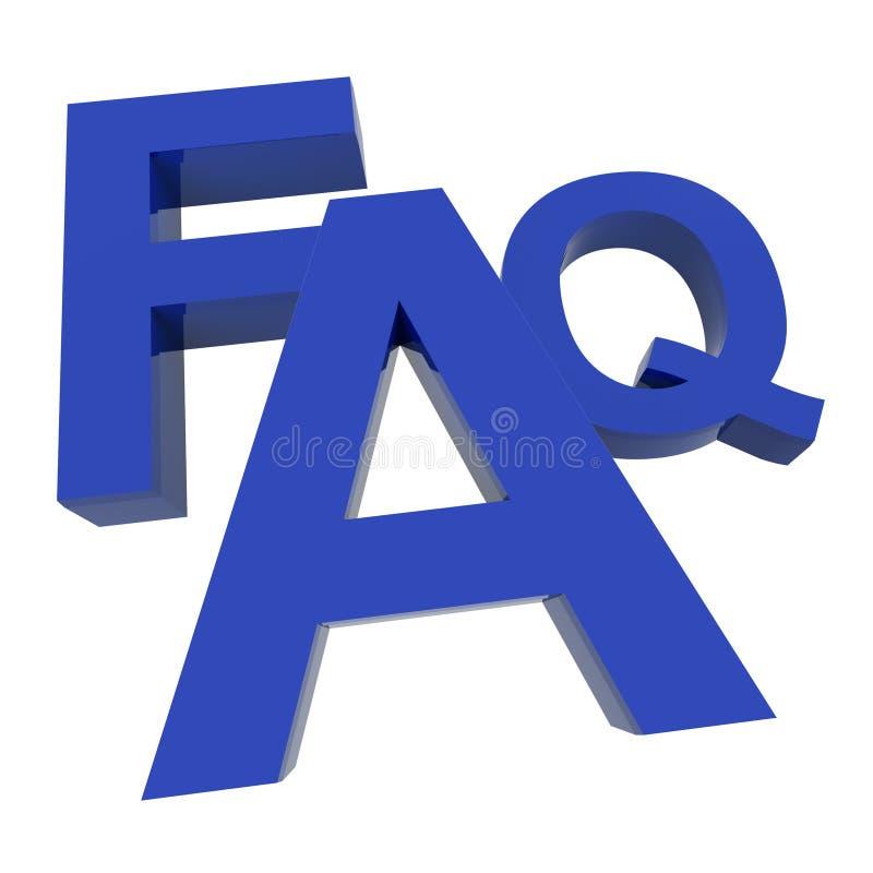 Word FAQ die de Vragen en de Antwoorden van de Informatie toont vector illustratie