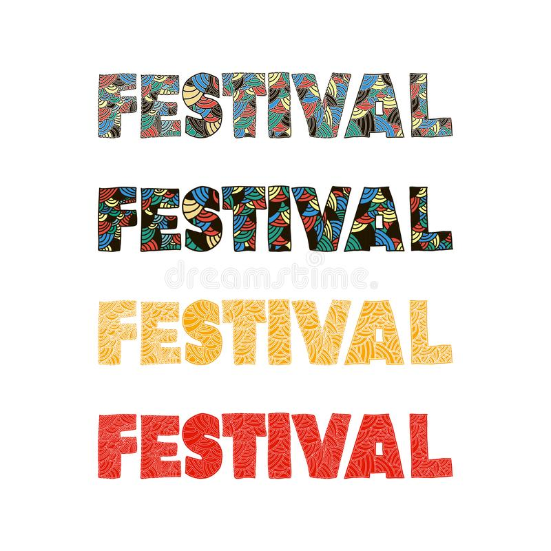 The word festival is painted in bright colors. perfect for banner card poster. Or calendar vector illustration