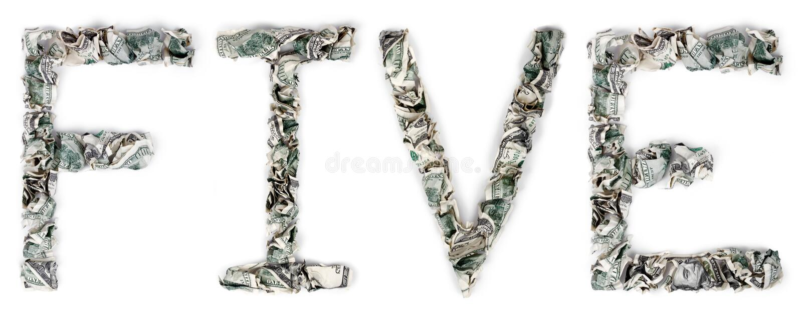 Download Five - Crimped 100$ Bills stock photo. Image of letter - 29908302