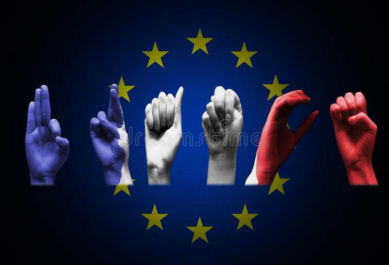 Word Frankrijk over de Europese Unie vlag royalty-vrije stock foto's