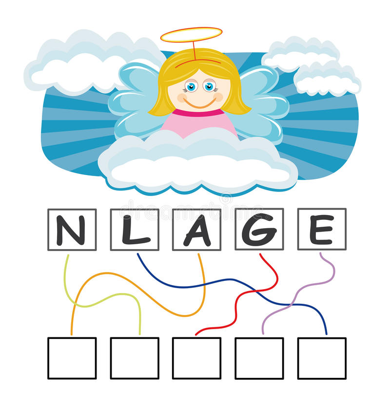 Word game with angel. A funny game for kids: Find out the correct word by following the lines and adding the letters in the blank squares