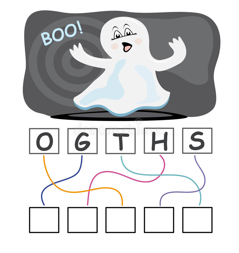 Word game with ghost stock illustration
