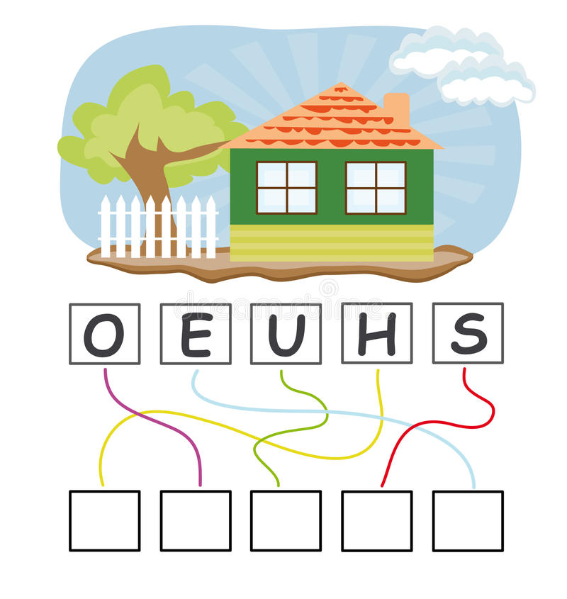 Word game with house. A funny game for kids: Find out the correct word by following the lines and adding the letters in the blank squares